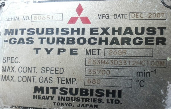 MITSUBISHI EXHAUST GAS TURBOCHARGER
